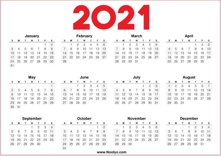 2021 Printable Downloadable Calendar Red And White – Noolyo