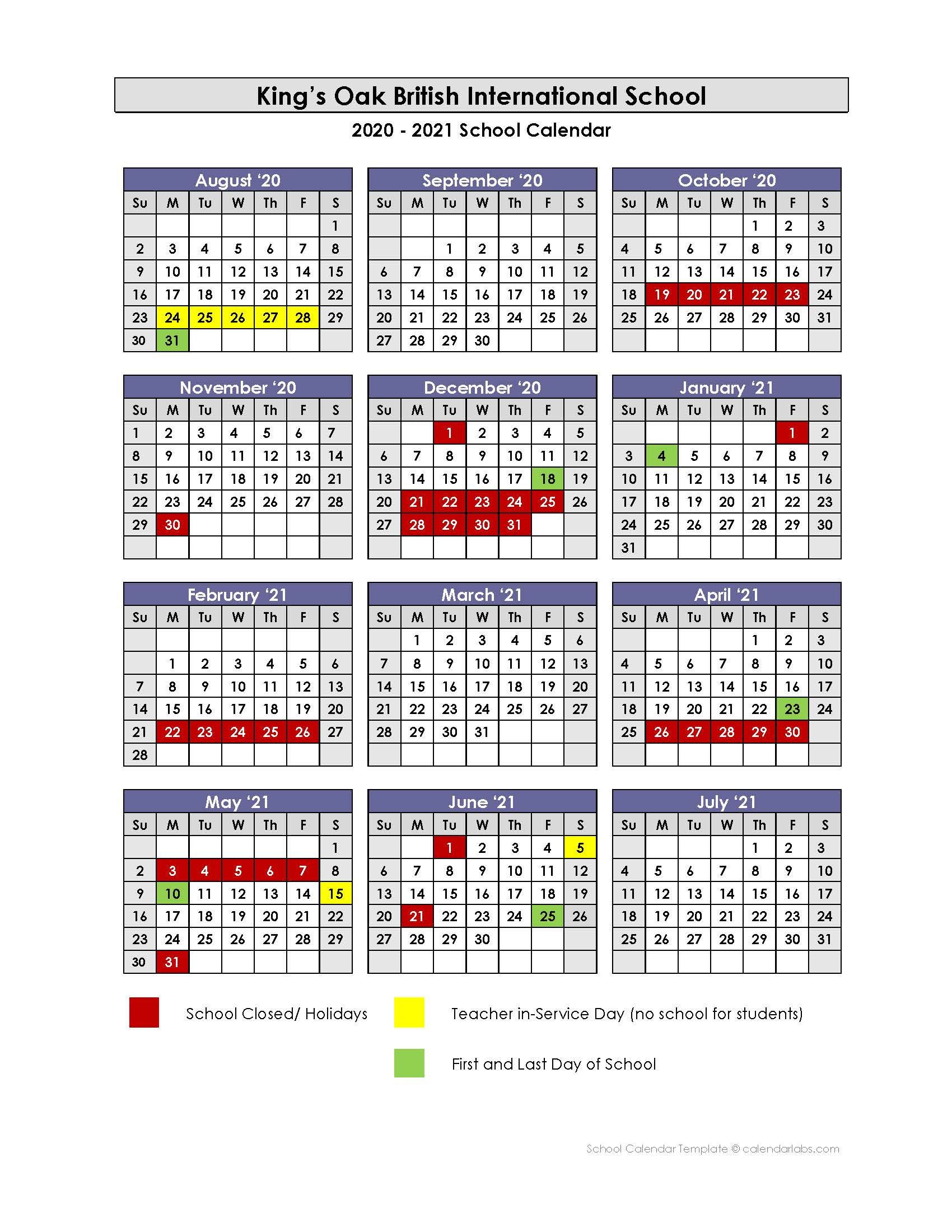 An Scolar 2020 2021 Calendar | Printable Calendars 2021