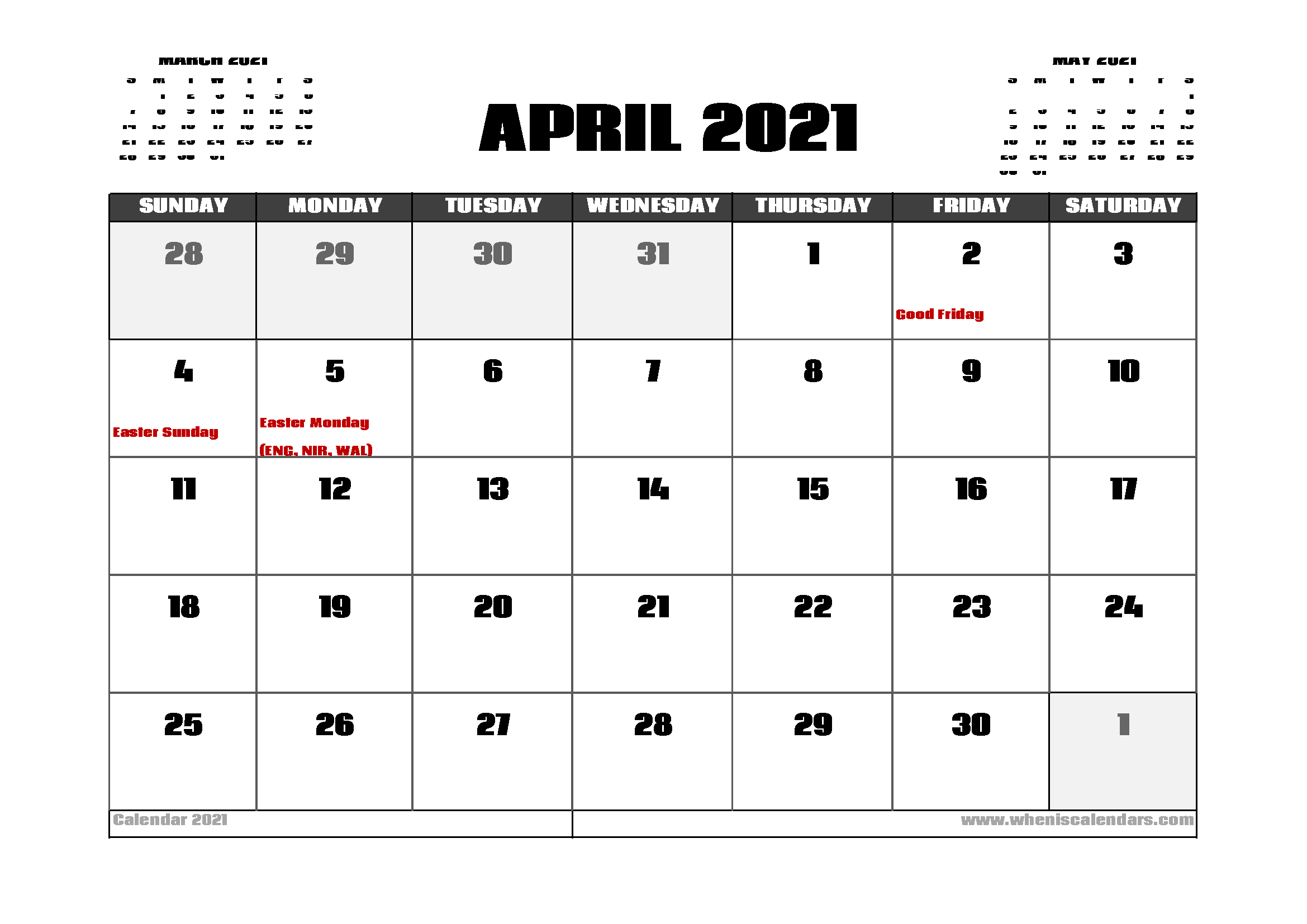 April 2021 Calendar With Holidays | Printable Calendars 2021