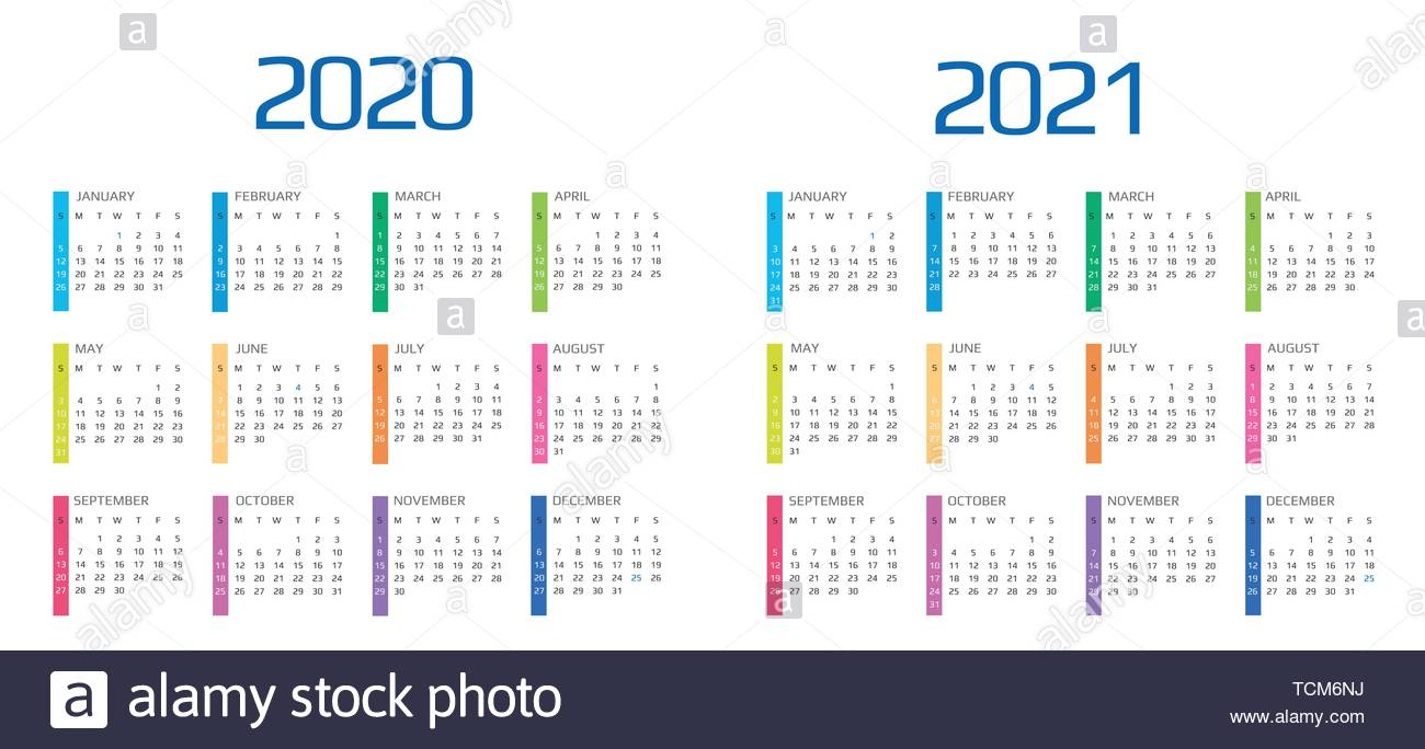 Calendar 2020 And 2021 Template. 12 Months. Include Holiday