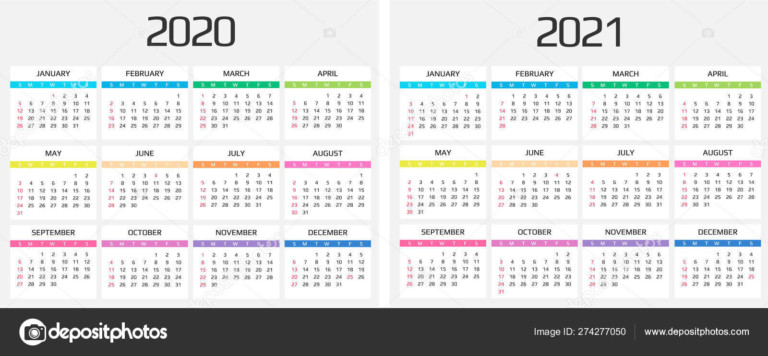 Calendar 2020 And 2021 Template. 12 Months. Include Holiday Event 274277050