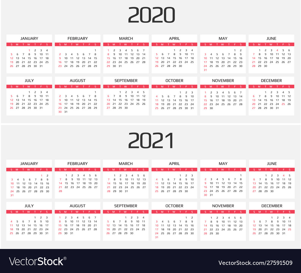 Calendar 2020 And 2021 Template 12 Months Vector Image