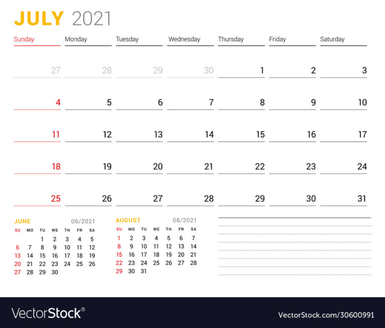 Calendar Template For July 2021 Business Monthly