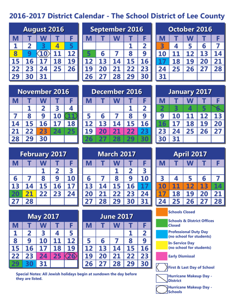 Calendars Lee County School District - Induced