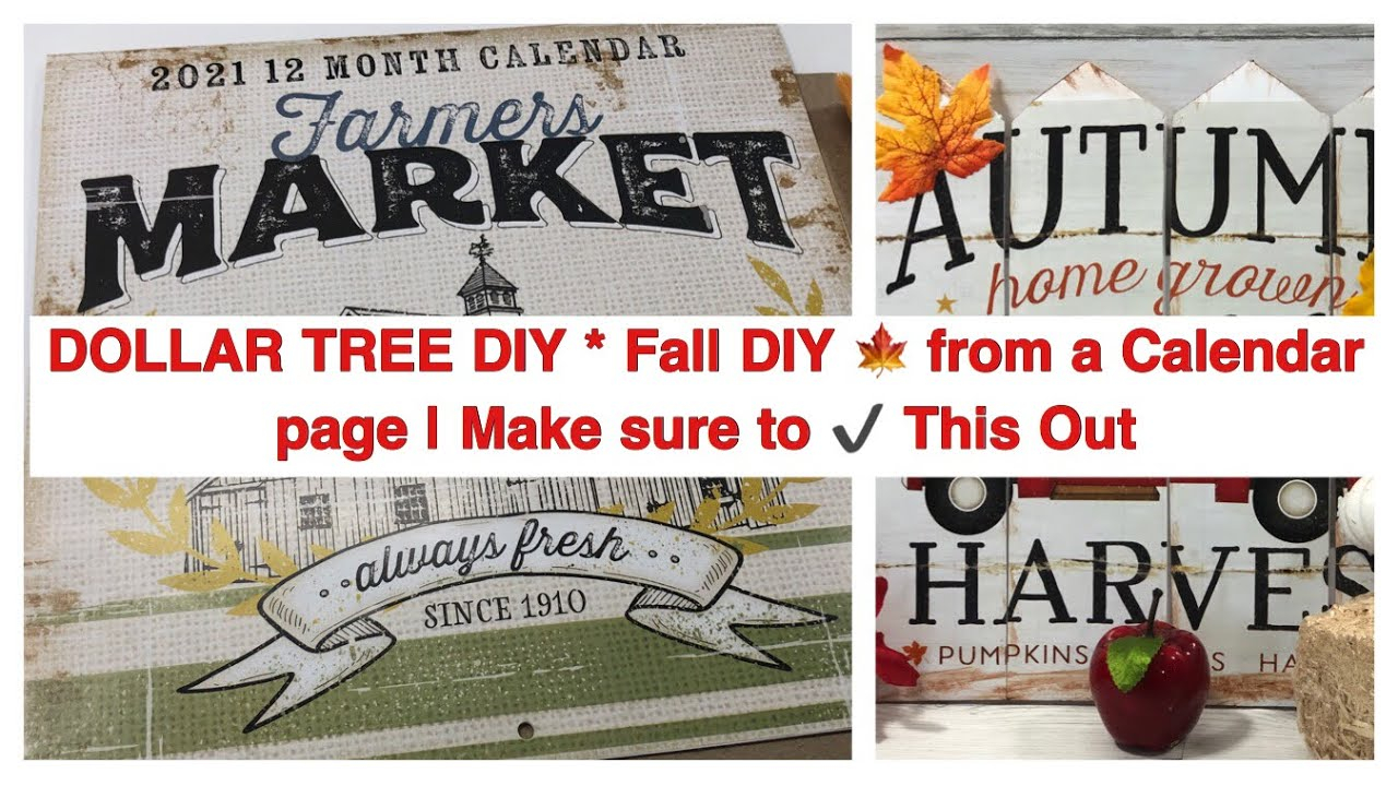 Dollar Tree Diy * Fall Diy 🍁 From A Calendar Page   Make Sure To ✔️ This  Out