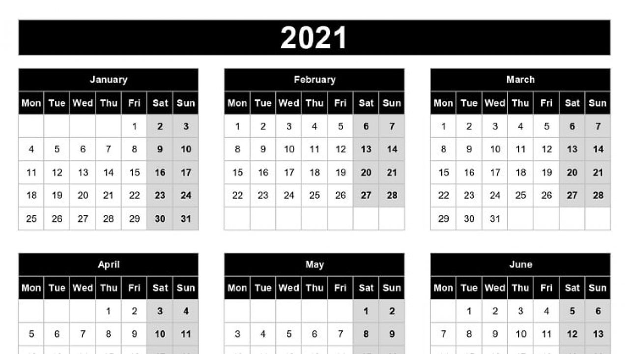2021 Yearly Calendar Template Excel   Printable Calendars 2021