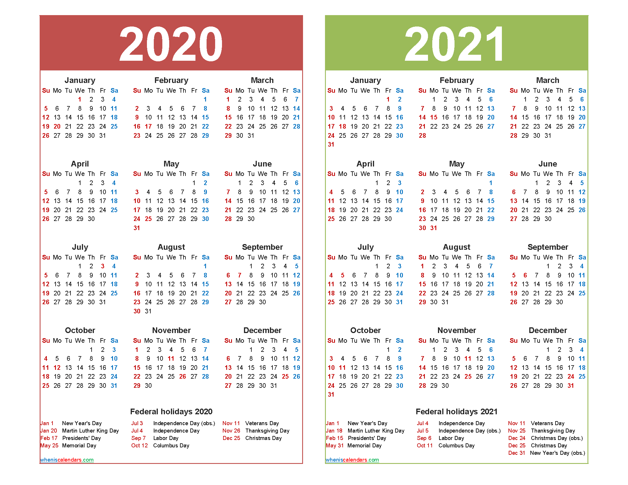 Free 2020 And 2021 Calendar Printable With Holidays – Free