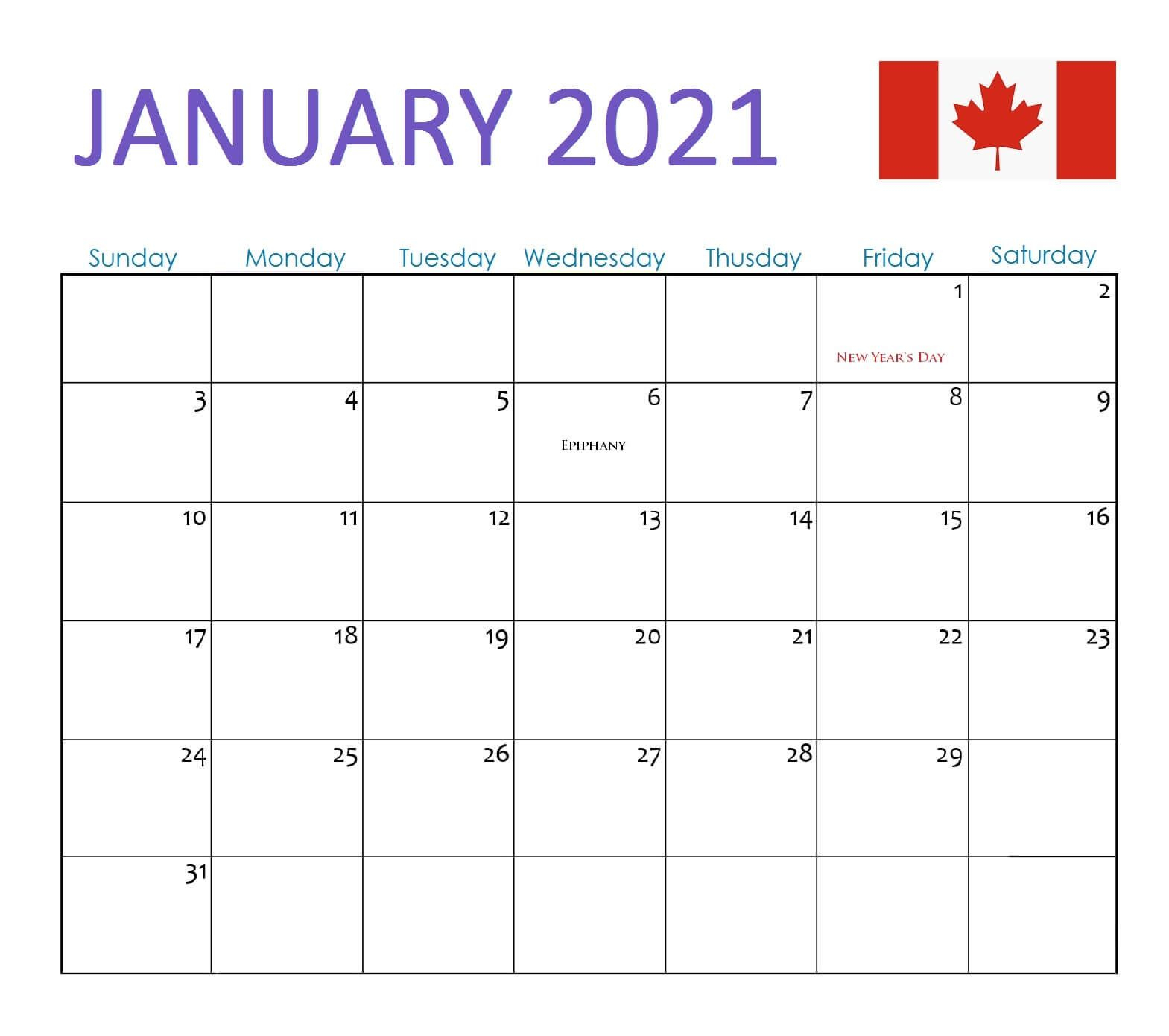 January 2021 Calendar Canada With Holidays In 2020 | 2021