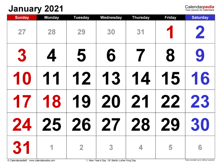 January 2021 Calendar   Templates For Word, Excel And Pdf