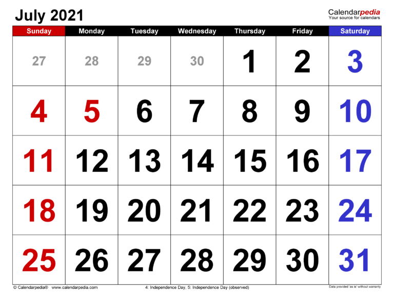 July 2021 Calendar   Templates For Word, Excel And Pdf