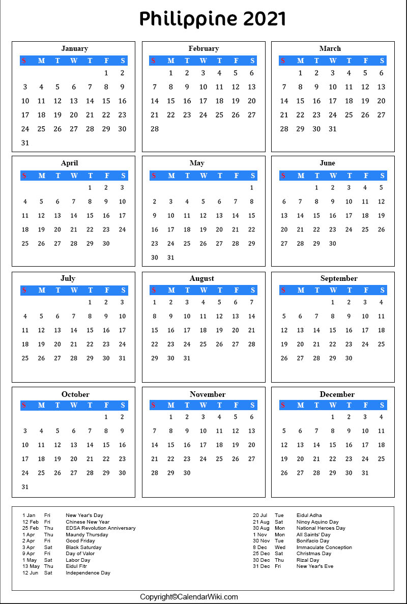 2021 Calendar Philippines With Holidays | Printable ...