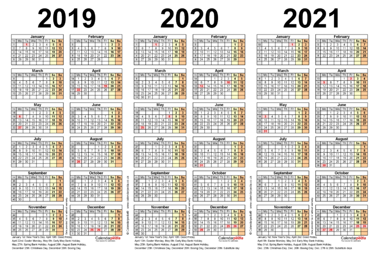Three Year Calendars For 2019, 2020 & 2021 (Uk) For Word