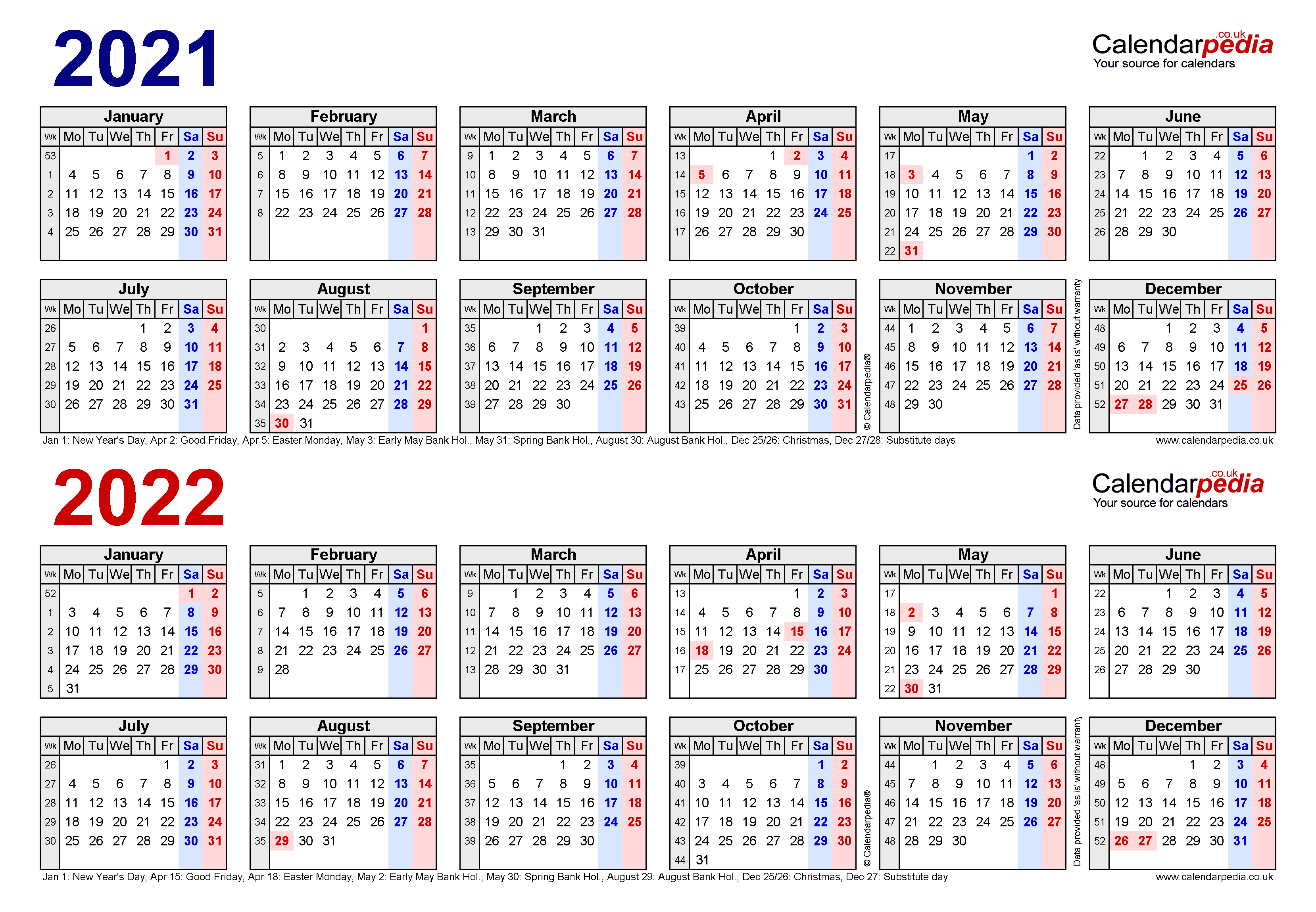 Two Year Calendars For 2021 & 2022 (Uk) For Word