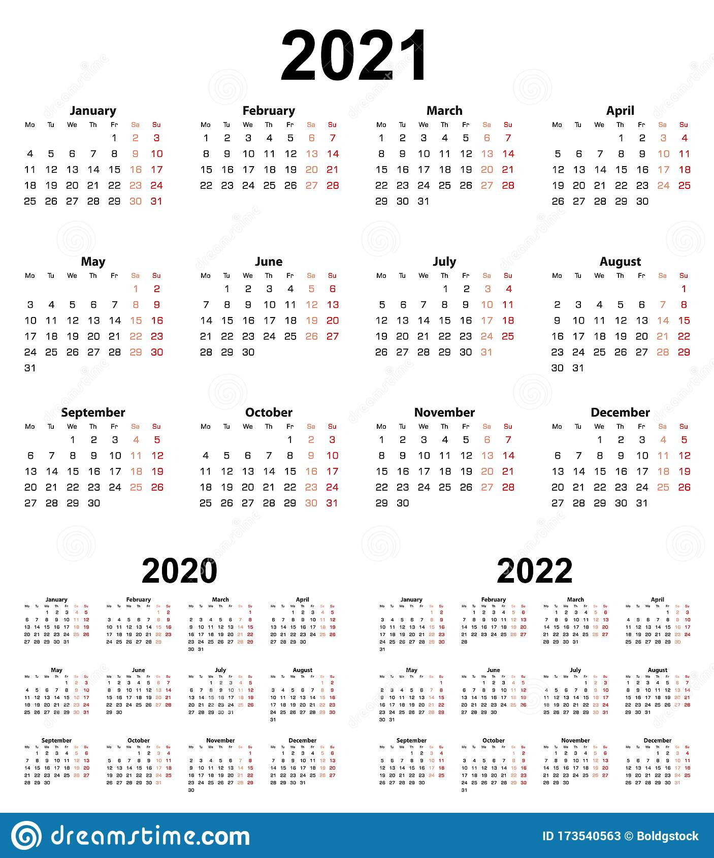 Basic Calendar For Year 2021 And 2020, 2022. Week Starts On