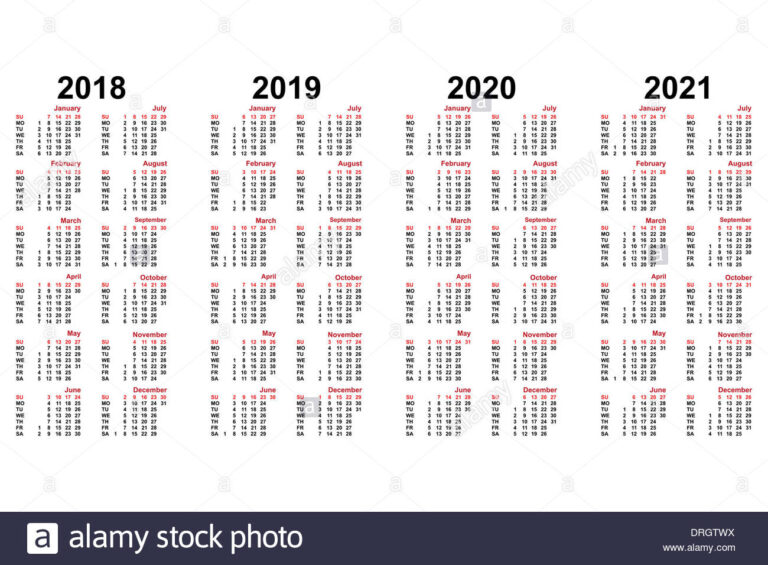 Calendar For 2018 To 2021 Years Stock Photo - Alamy