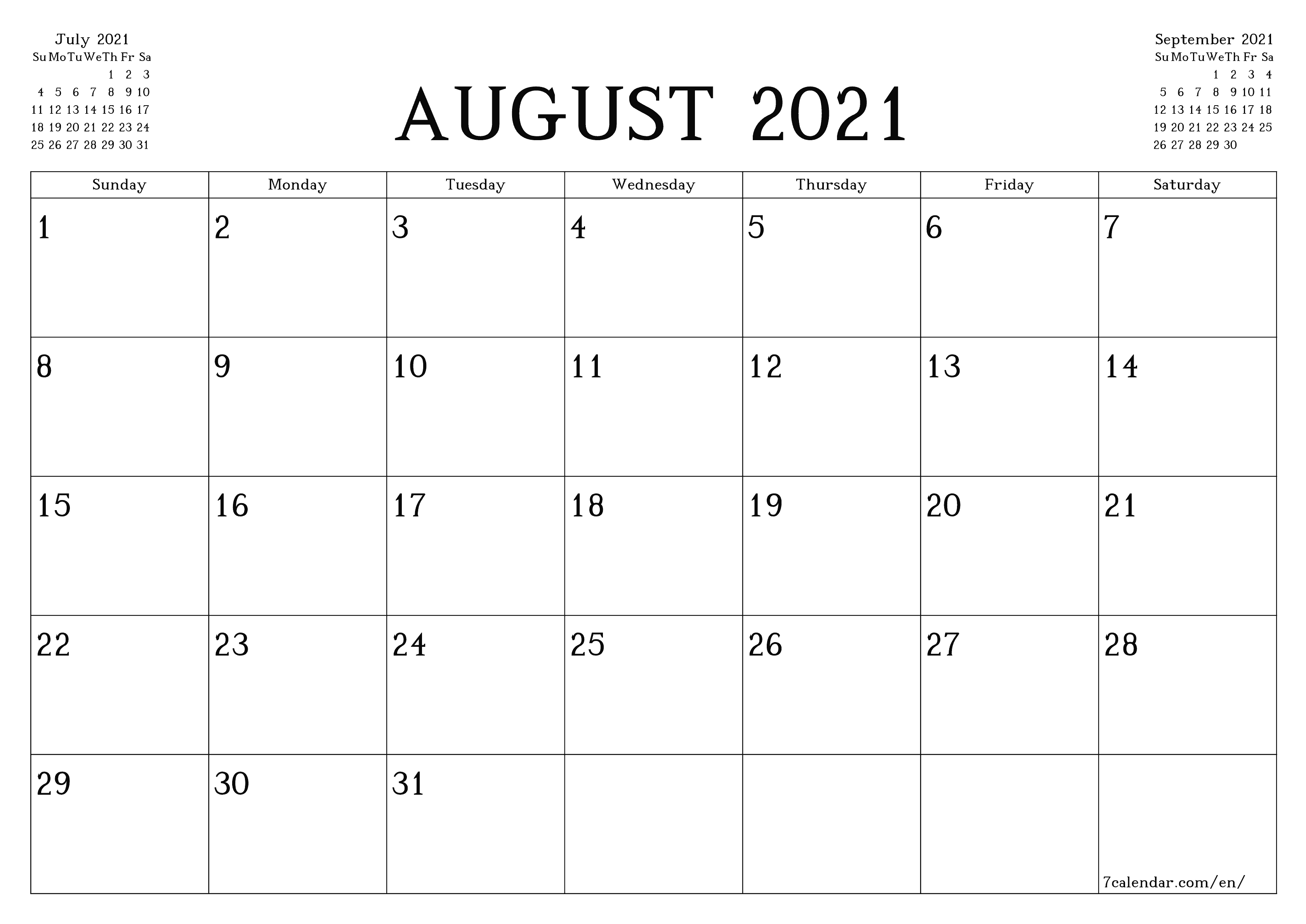 Free Printable Blank Monthly Calendar And Planner For August