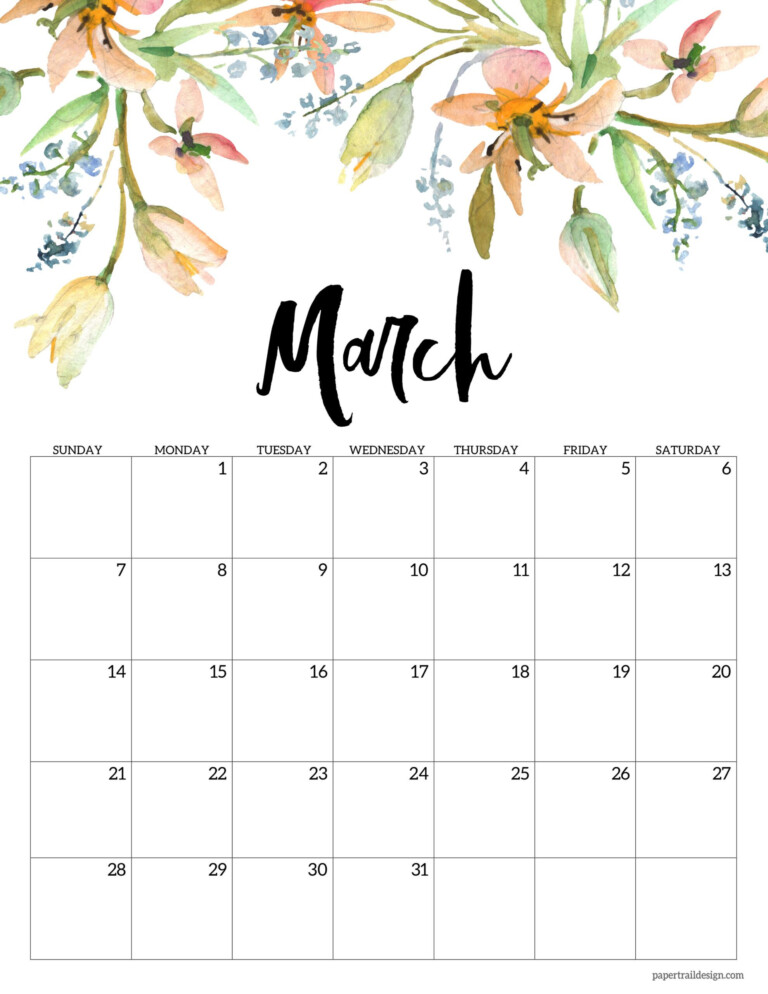 March 2021 Floral Calendar Page With Orange And Blue Flowers