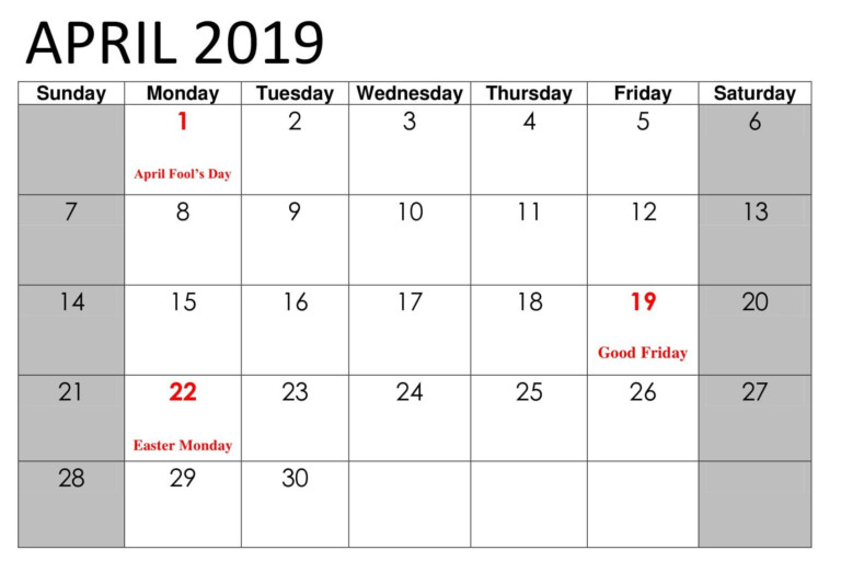 April Calendar 2019 With Public Holidays Holiday