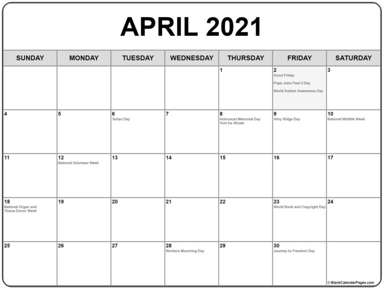Collection Of April 2021 Calendars With Holidays