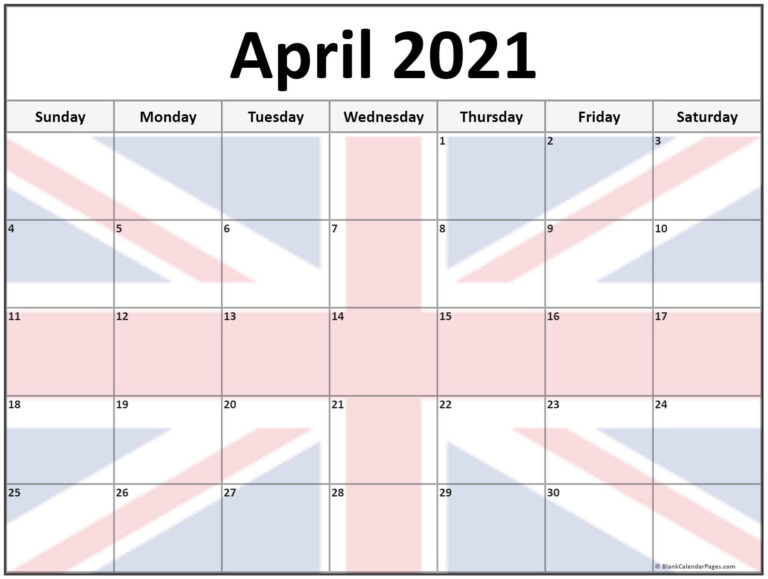 Collection Of April 2021 Photo Calendars With Image Filters
