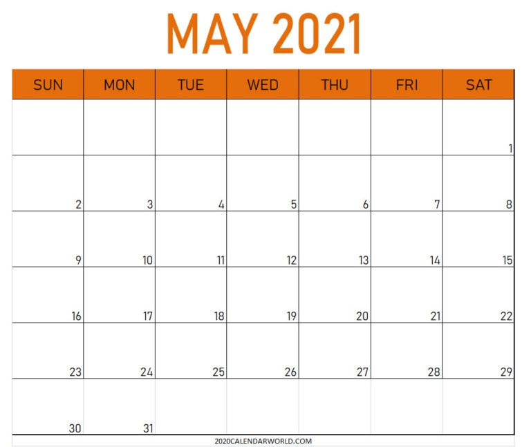 20 May 2021 Calendar Printable Best Designs For You