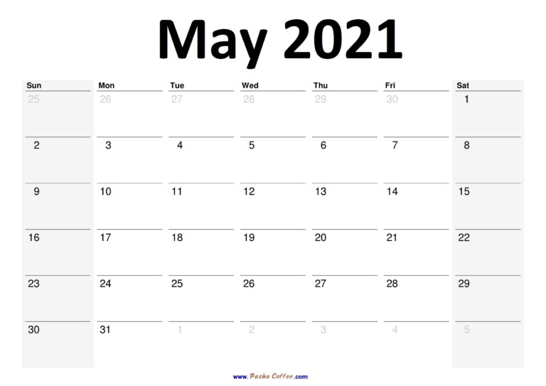 2021 May Calendar Planner Printable Monthly