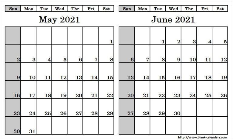 Blank Two Month May June 2021 Calendar Printable Template