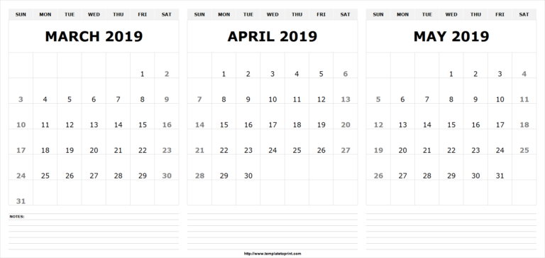 Free March April May 2020 Calendar Printable Template