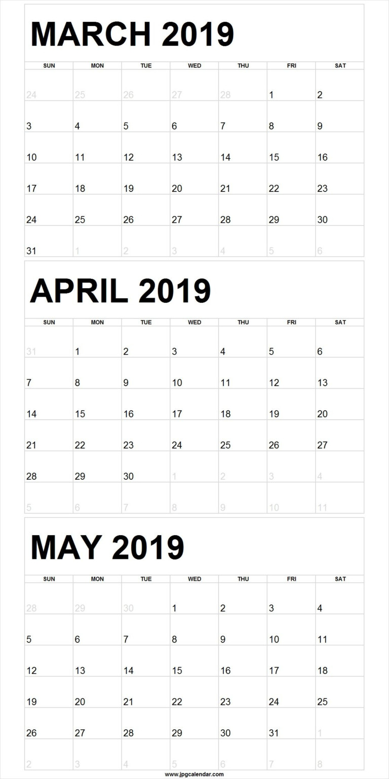 March April May 2019 Calendar In PDF Word Excel Printable