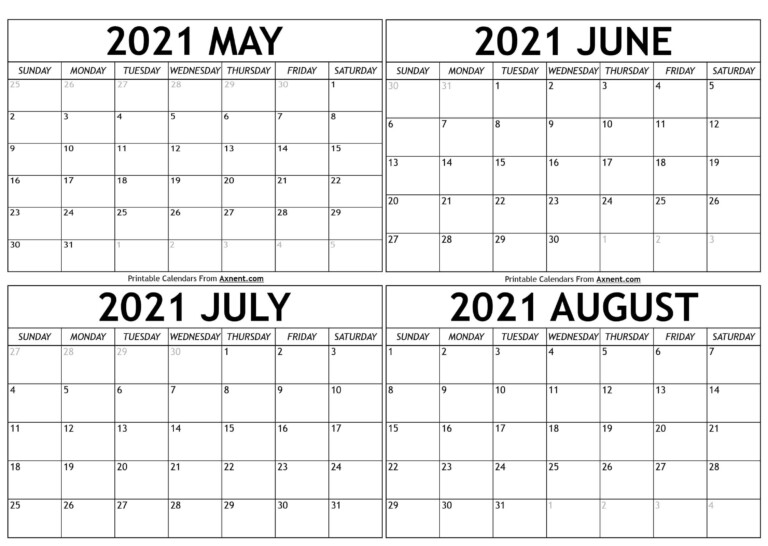 May To August 2021 Calendar Templates Time Management