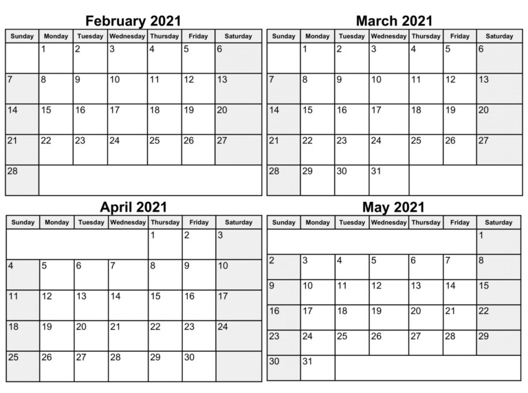 Printable February To May 2021 Calendar Word Template