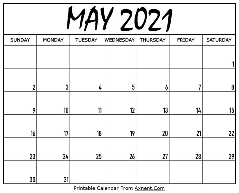 Printable May 2021 Calendar Template Time Management