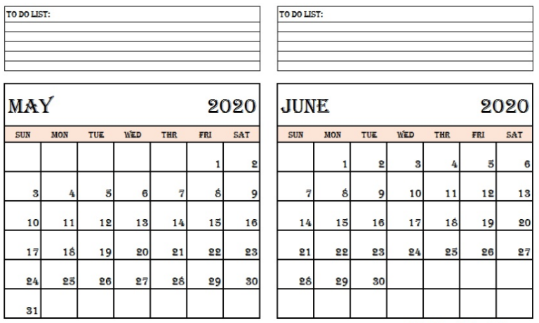 Two Month May June 2020 Calendar Printable Templates
