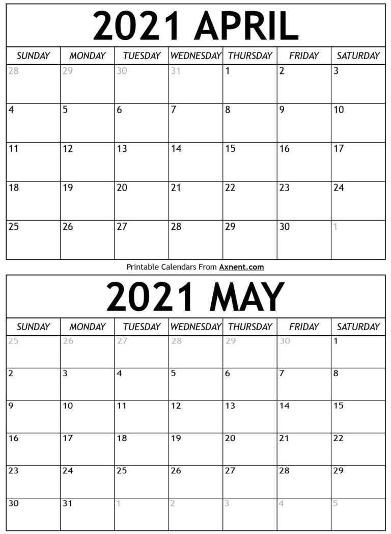 April May 2021 Calendar Templates Two Months