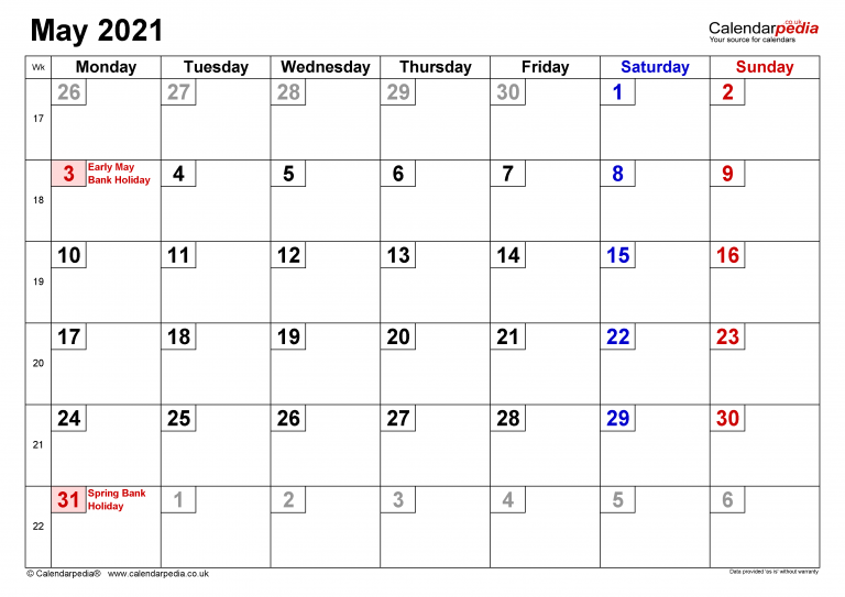Calendar May 2021 UK With Excel Word And PDF Templates