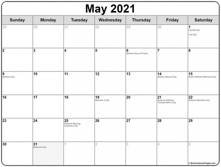 Collection Of May 2021 Calendars With Holidays