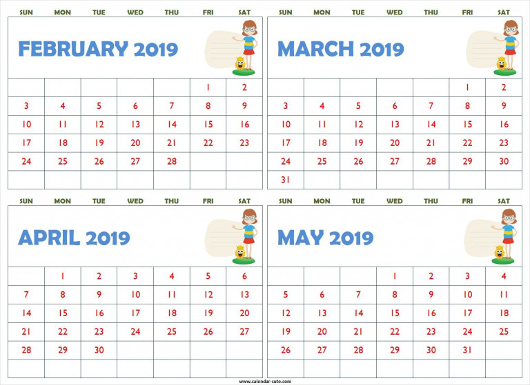 February March April May 2019 Calendar Cute Printable Free