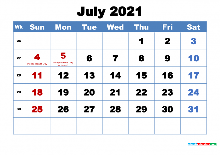 Free Printable July 2021 Calendar With Holidays Free
