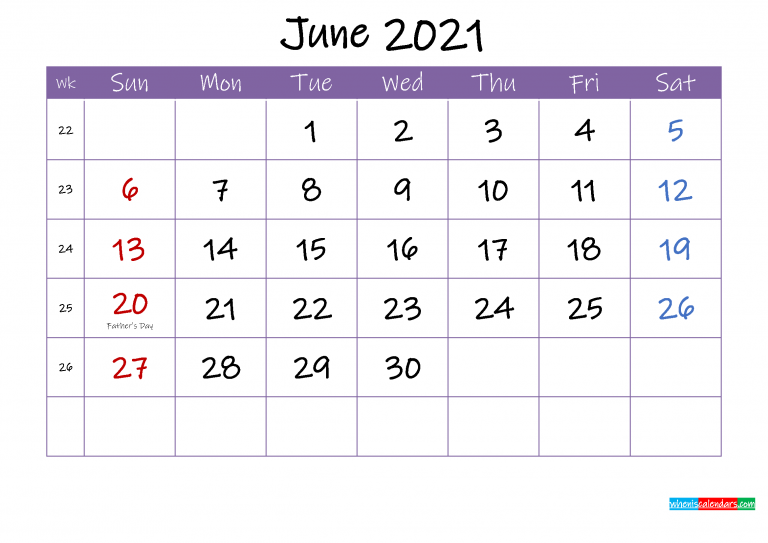 June 2021 Calendar With Holidays Printable Template Ink21m54