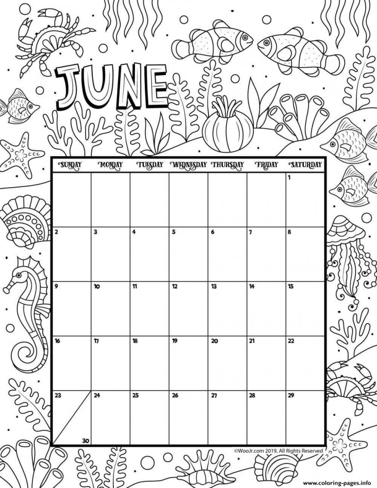 June Calendar Month Coloring Pages Printable
