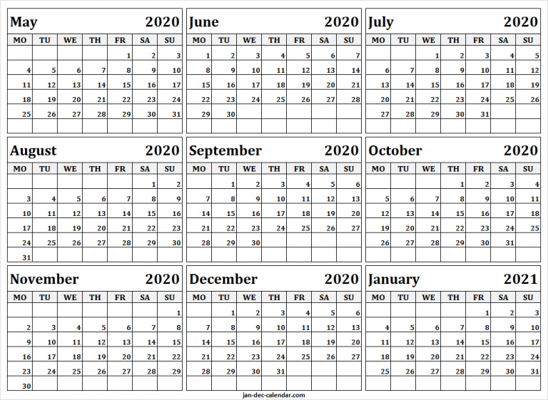 May 2020 To January 2021 Calendar Template Monthly Calendar
