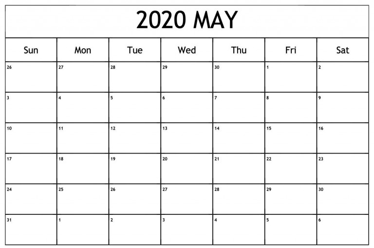 May Calendar 2020 Excel With Images Free Printable