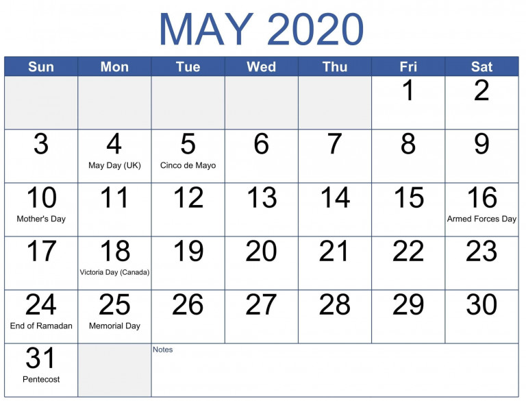 May Calendar 2020 Printable Word For Monthly Plans