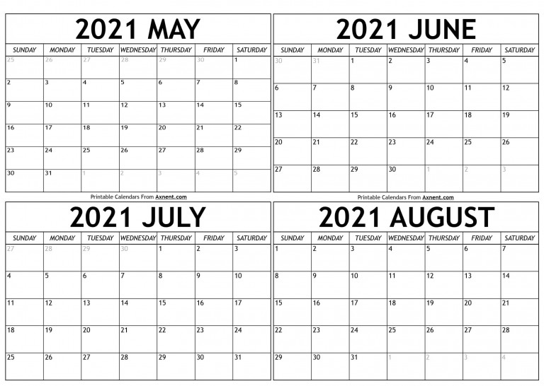 May To August 2021 Calendar Templates Four Months