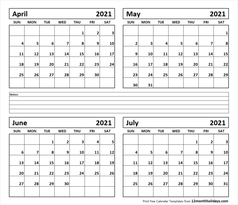 Printable Blank Four Month April May June July 2021