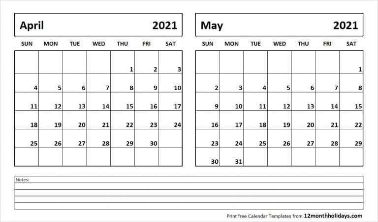 Printable Blank Two Month Calendar April May 2021 Template