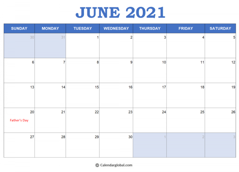 2021 Excel Calendar Templates Free Printable Monthly