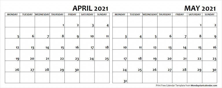 April May 2021 Calendar Monday Start Editable Two Months
