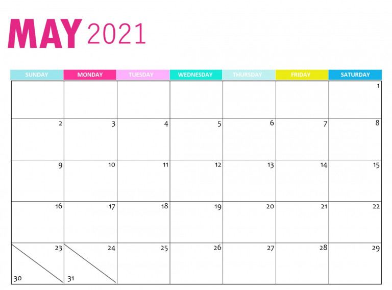 Cute May 2021 Calendar Design Template With Notes One