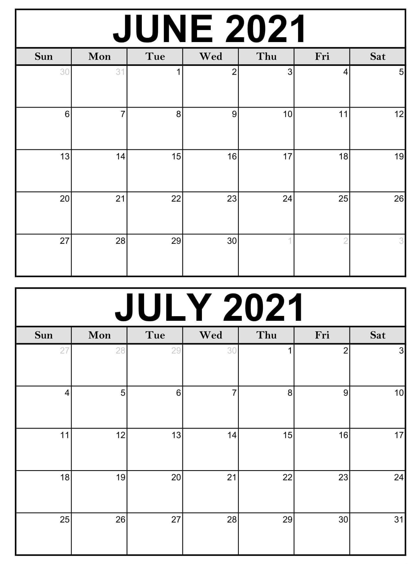 Free June July 2021 Calendar Printable With Holidays My